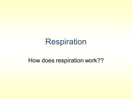 Respiration How does respiration work??. Define: CELLULAR RESPIRATION ANAEROBIC RESPIRATION AEROBIC RESPRIATION ANAEROBE AEROBE.