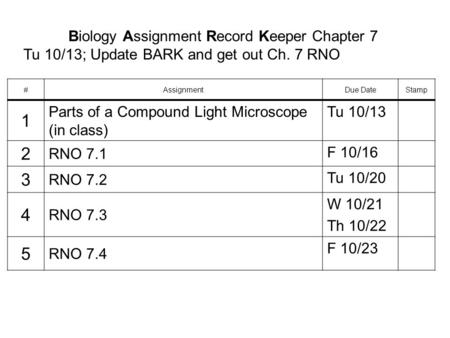 Biology Assignment Record Keeper Chapter 7 Tu 10/13; Update BARK and get out Ch. 7 RNO #AssignmentDue DateStamp 1 Parts of a Compound Light Microscope.