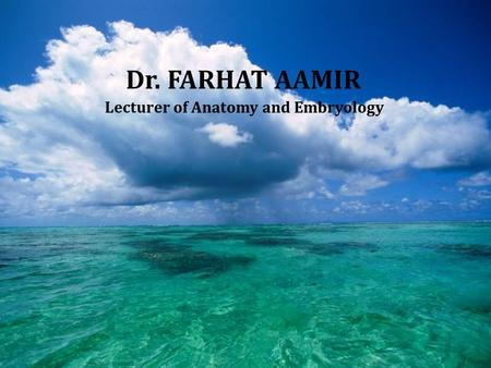Dr. FARHAT AAMIR Lecturer of Anatomy and Embryology.