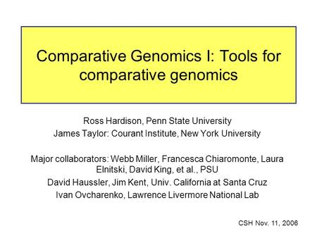 Comparative Genomics I: Tools for comparative genomics Ross Hardison, Penn State University James Taylor: Courant Institute, New York University Major.