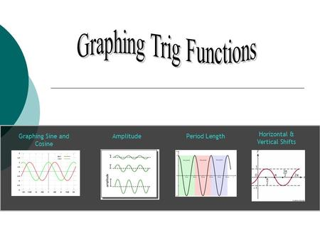 Graphing Sine and Cosine Amplitude Horizontal & Vertical Shifts Period Length.