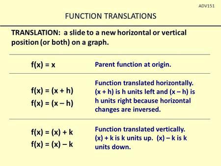 FUNCTION TRANSLATIONS ADV151 TRANSLATION: a slide to a new horizontal or vertical position (or both) on a graph. f(x) = x f(x) = (x – h) Parent function.