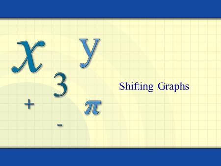 Shifting Graphs. Copyright © by Houghton Mifflin Company, Inc. All rights reserved. As you saw with the Nspires, the graphs of many functions are transformations.