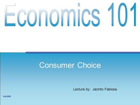 Lecture by: Jacinto Fabiosa Fall 2005 Consumer Choice.