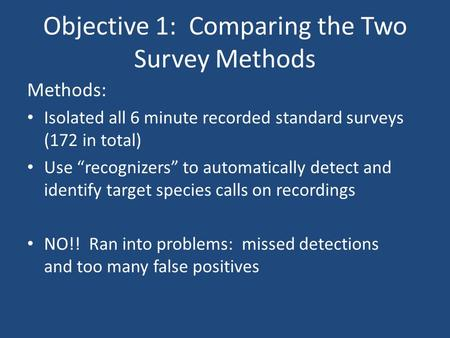 "Objective 1: Comparing the Two Survey Methods Methods: Isolated all 6 minute recorded standard surveys (172 in total) Use ""recognizers"" to automatically."