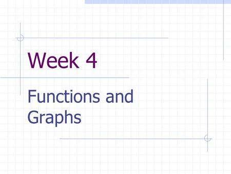 Week 4 Functions and Graphs. Objectives At the end of this session, you will be able to: Define and compute slope of a line. Write the point-slope equation.