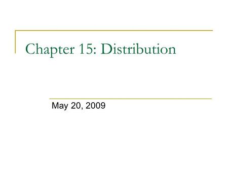 Chapter 15: Distribution May 20, 2009. Pareto optimality Economics defines efficiency as the Pareto optimal allocation of resources by the market  Assumption?