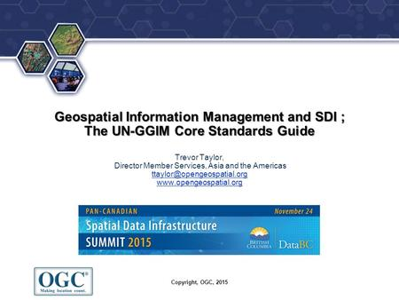 ® Geospatial Information Management and SDI ; The UN-GGIM Core Standards Guide Geospatial Information Management and SDI ; The UN-GGIM Core Standards Guide.