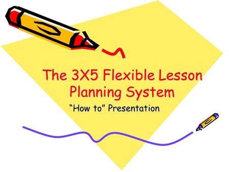 "The 3X5 Flexible Lesson Planning System ""How to"" Presentation."