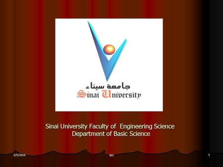 Sinai University Faculty of Engineering Science Department of Basic Science 2/5/20161 W1.