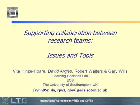 International Workshop on VREs and CWEs Supporting collaboration between research teams: Issues and Tools Vita Hinze-Hoare, David Argles, Robert Walters.