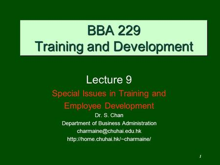 BBA 229 Training and Development
