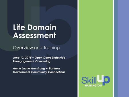 Life Domain Assessment Overview and Training June 12, 2015 – Open Doors Statewide Reengagement Convening Annie Laurie Armstrong – Business Government Community.