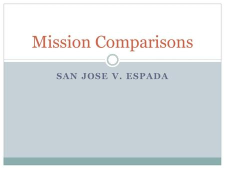 "SAN JOSE V. ESPADA Mission Comparisons. San Jose Mission Known as the ""Queen of the Missions"" Founded in 1720 Built on the banks of the San Antonio."