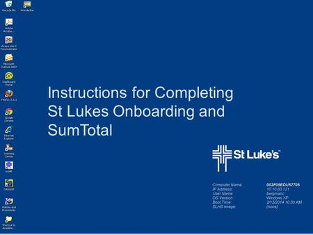 Instructions for Completing St Lukes Onboarding and SumTotal.