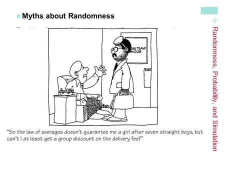 + Myths about Randomness The idea of probability seems straightforward. However, there are several myths of chance behavior we must address. The myth of.