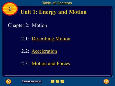 Chapter 2: Motion Unit 1: Energy and Motion Table of Contents 2 2 2.3: Motion and ForcesMotion and Forces 2.1: Describing Motion 2.2: AccelerationAcceleration.
