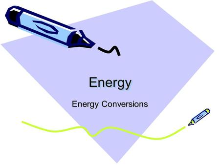 EnergyEnergy Energy Conversions. Energy Conversion A change from one form of energy to another.