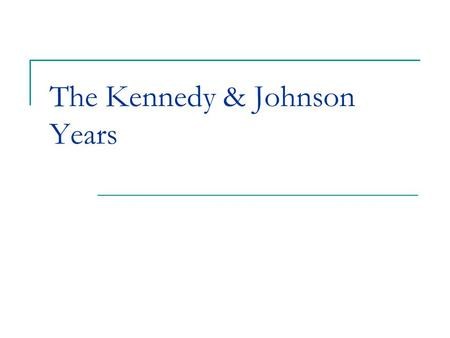 "The Kennedy & Johnson Years. Post-War Presidents Truman's ""Fair Deal"" Reconversion/Readjustment Eisenhower's ""Modern Republicanism"" $ Conservative/Social."