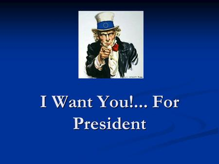 I Want You!... For President. Terms of Office Must be at least 35 years old, a natural-born citizen, and been a resident for at least 14 years Must be.