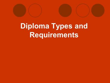 Diploma Types and Requirements. Core 40 Diploma Core 40 Requirements  42 Credits  8 credits English  6 credits Math  All students will need to take.