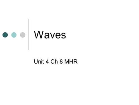 Waves Unit 4 Ch 8 MHR. Introduction A wave is a disturbance that transfers energy through a medium. A medium is a material through which a wave travels.