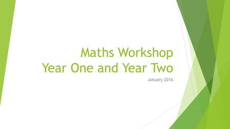 Maths Workshop Year One and Year Two January 2016.
