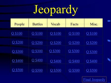 Jeopardy PeopleBattlesVocabFacts Misc. Q $100 Q $200 Q $300 Q $400 Q $500 Q $100 Q $200 Q $300 Q $400 Q $500 Final Jeopardy.