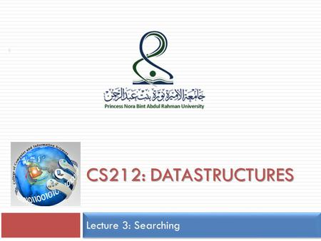 CS212: DATASTRUCTURES Lecture 3: Searching 1. Lecture Contents  searching  Sequential search algorithm.  Binary search algorithm. 2.
