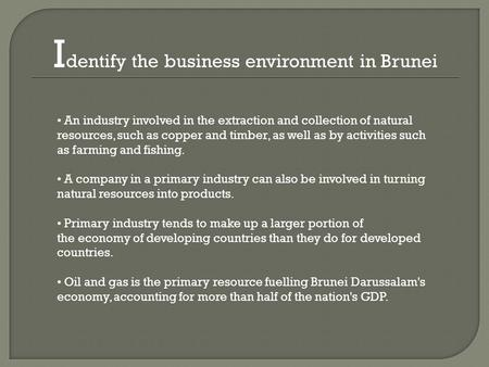 I dentify the business environment in Brunei An industry involved in the extraction and collection of natural resources, such as copper and timber, as.