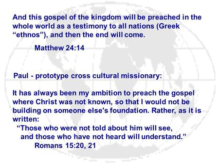 Paul - prototype cross cultural missionary: