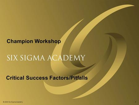 © 2003 Six Sigma Academy0 Critical Success Factors/Pitfalls Champion Workshop.