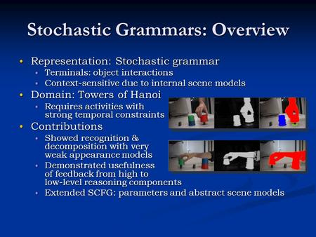 Stochastic Grammars: Overview Representation: Stochastic grammar Representation: Stochastic grammar Terminals: object interactions Terminals: object interactions.
