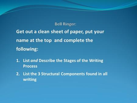 Get out a clean sheet of paper, put your name at the top and complete the following: 1.List and Describe the Stages of the Writing Process 2.List the 3.