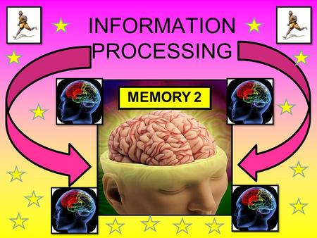 INFORMATION PROCESSING MEMORY 2. WE ARE LEARNING TO... Recap on selective attention and the functions of the different parts of the memory Identify and.