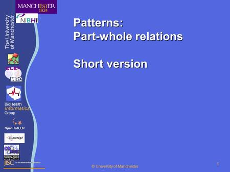 © University of Manchester 1 Patterns: Part-whole relations Short version OpenGALEN BioHealth Informatics Group © University of Manchester.