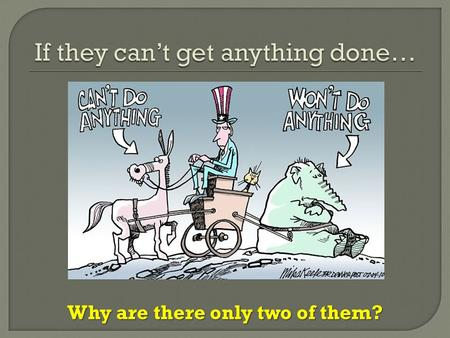 Why are there only two of them?.  I can explain why the U.S. practices a two- party system as opposed to a multi-party or single-party system.  I can.