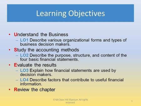 Learning Objectives Understand the Business –LO1 Describe various organizational forms and types of business decision makers. Study the accounting methods.