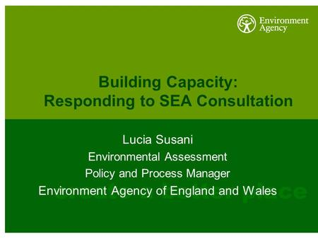 Building Capacity: Responding to SEA Consultation Lucia Susani Environmental Assessment Policy and Process Manager Environment Agency of England and Wales.