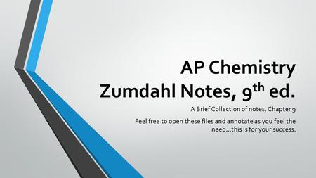 AP Chemistry Zumdahl Notes, 9 th ed. A Brief Collection of notes, Chapter 9 Feel free to open these files and annotate as you feel the need…this is for.