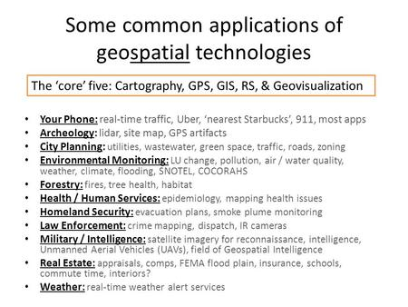 Some common applications of geospatial technologies Your Phone: real-time traffic, Uber, 'nearest Starbucks', 911, most apps Archeology: lidar, site map,