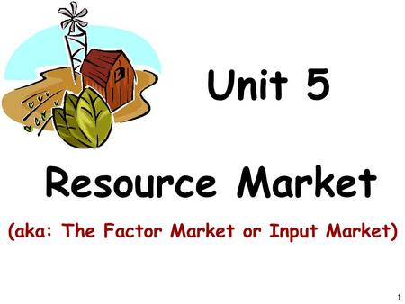 Unit 5 Resource Market (aka: The Factor Market or Input Market) 1.