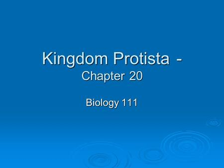 Kingdom Protista- Chapter 20 Biology 111. Protists  Protists are single celled eukaryotes. A few forms are multi-cellular.  Heterotrophic or autotrophic.