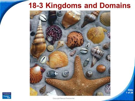 Slide 1 of 28 Copyright Pearson Prentice Hall 18-3 Kingdoms and Domains.