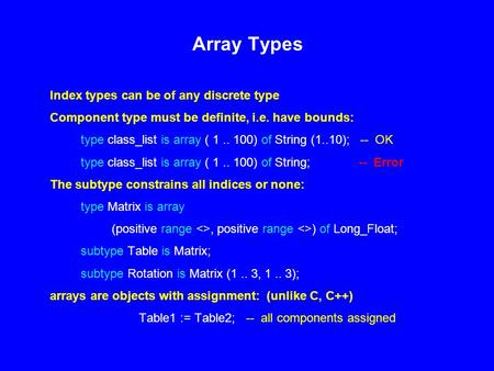 Array Types Index types can be of any discrete type Component type must be definite, i.e. have bounds: type class_list is array ( 1.. 100) of String (1..10);