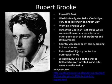 "peace rupert brooke essay Essays and criticism on rupert brooke, including the works ""the old vicarage, grantchester"", ""the soldier"" - magill's survey of world literature."
