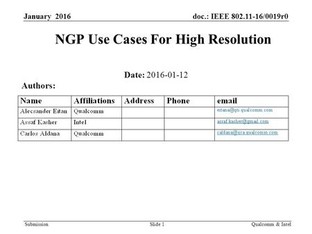 Submission January 2016doc.: IEEE 802.11-16/0019r0 NGP Use Cases For High Resolution Date: 2016-01-12 Qualcomm & IntelSlide 1 Authors: