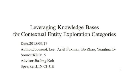 Leveraging Knowledge Bases for Contextual Entity Exploration Categories Date:2015/09/17 Author:Joonseok Lee, Ariel Fuxman, Bo Zhao, Yuanhua Lv Source:KDD'15.