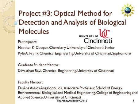 Project #3: Optical Method for Detection and Analysis of Biological Molecules Participants: Heather K. Cooper, Chemistry, University of Cincinnati, Senior.