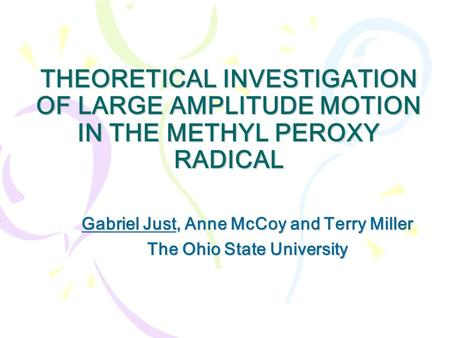 THEORETICAL INVESTIGATION OF LARGE AMPLITUDE MOTION IN THE METHYL PEROXY RADICAL Gabriel Just, Anne McCoy and Terry Miller The Ohio State University.